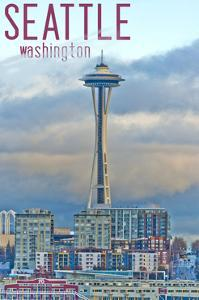 Seattle, Washington - Space Needle and Waterfront Piers by Lantern Press