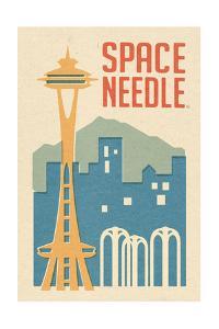 Seattle, Washington - Space Needle Woodblock by Lantern Press