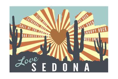 Sedona, Arizona - Cathedral Rock and Cactus by Lantern Press