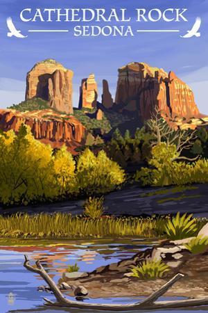 Sedona, Arizona - Cathedral Rock (Blue Water Version) by Lantern Press
