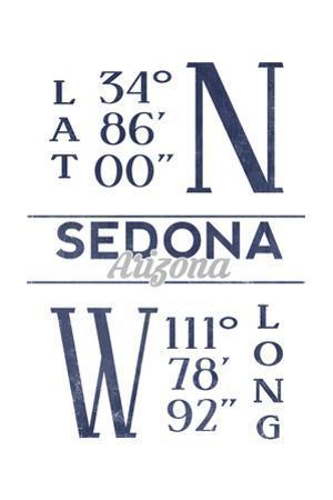 Sedona, Arizona - Latitude and Longitude (Blue) by Lantern Press