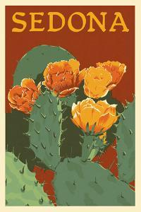 Sedona, Arizona - Prickly Pear Cactus - Letterpress by Lantern Press