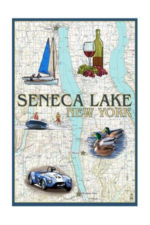 Seneca Lake, New York - Nautical Chart by Lantern Press