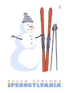 Seven Springs, Pennsylvania, Snowman with Skis by Lantern Press