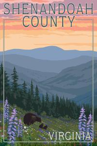 Shenandoah County, Virginia - Bears and Spring Flowers by Lantern Press
