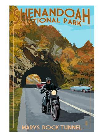 Shenandoah National Park, Virginia - Marys Rock Tunnel Motorcycle by Lantern Press