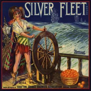 Silver Fleet Brand - Mentone, California - Citrus Crate Label by Lantern Press