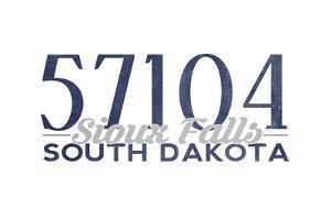 Sioux Falls, South Dakota - 57104 Zip Code (Blue) by Lantern Press