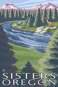 Sisters, Oregon, Scenic View, No Quilts by Lantern Press