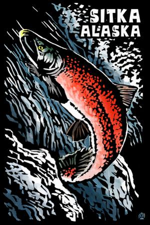 Sitka, Alaska - Sockeye Salmon - Scratchboard