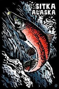 Sitka, Alaska - Sockeye Salmon - Scratchboard by Lantern Press