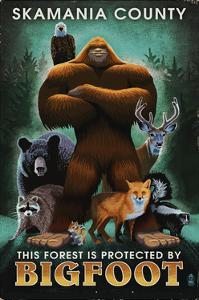 Skamania County, Washington - Respect Our Wildlife - Bigfoot by Lantern Press