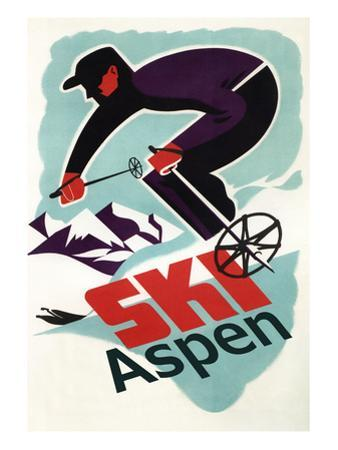 Ski in Colorado Vintage Skier - Aspen, Colorado