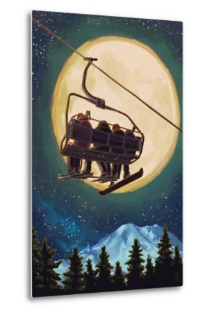 Ski Lift and Full Moon with Snowboarder