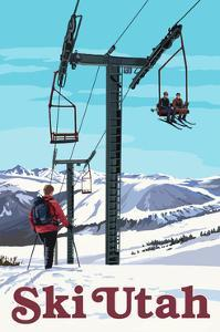Ski Utah - Ski Lift Day Scene by Lantern Press