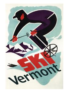 Ski Vermont - Retro Skier by Lantern Press