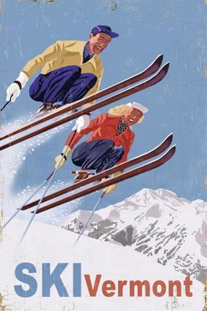 Ski Vermont - Vintage Skiers by Lantern Press