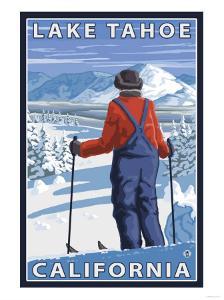 Skier Admiring, Lake Tahoe, California by Lantern Press