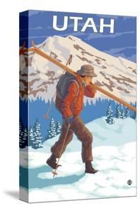 Skier Carrying Skis - Utah by Lantern Press