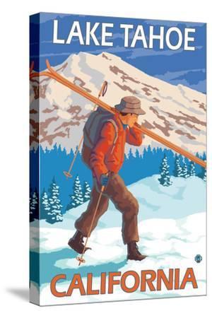 Skier Carrying Snow Skis, Lake Tahoe, California