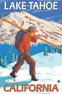 Skier Carrying Snow Skis, Lake Tahoe, California by Lantern Press