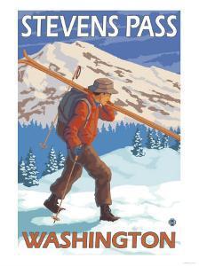 Skier Carrying Snow Skis, Stevens Pass, Washington by Lantern Press