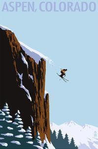 Skier Jumping - Aspen, Colorado by Lantern Press