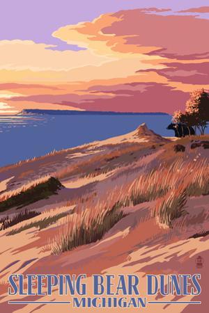 Sleeping Bear Dunes, Michigan - Dunes Sunset and Bear by Lantern Press