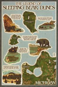 Sleeping Bear Dunes, Michigan - Sleeping Bear Dunes Legend Map by Lantern Press