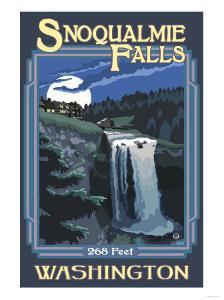 Snoqualmie Falls by Night, Washington by Lantern Press