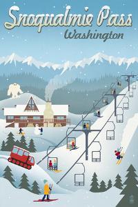 Snoqualmie Pass, Washington - Retro Ski Resort by Lantern Press
