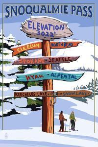 Snoqualmie Pass, Washington - Ski Signpost by Lantern Press