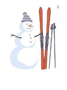 Snowman with Skis by Lantern Press
