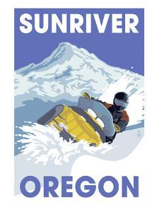Snowmobile Scene - Sunriver, Oregon by Lantern Press