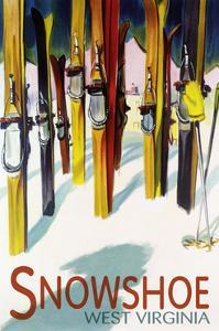 Snowshoe, West Virginia - Colorful Skis by Lantern Press