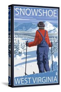 Snowshoe, West Virginia - Skier Admiring View by Lantern Press