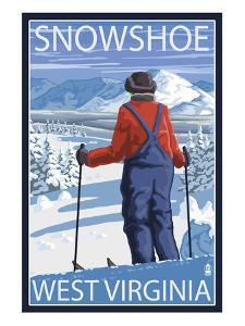 Snowshoe, West Virginia - Skier Admiring View by Lantern Press