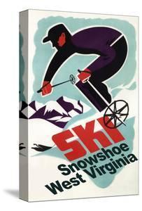 Snowshoe, West Virginia - Vintage Skier by Lantern Press