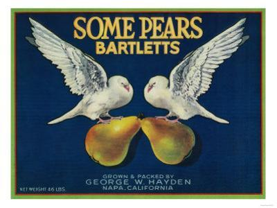 Some Pears Pear Crate Label - Napa, CA by Lantern Press