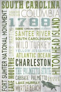 South Carolina - Barnwood Typography by Lantern Press