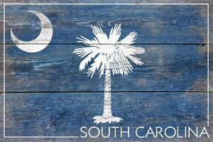 South Carolina State Flag - Barnwood Painting by Lantern Press