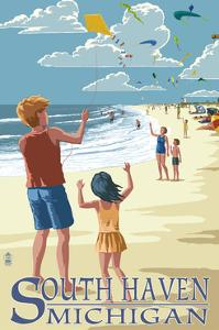 South Haven, Michigan - Kite Flyers by Lantern Press