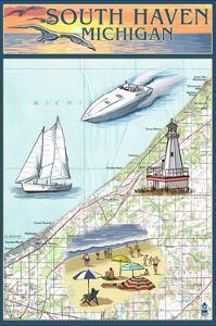 South Haven, Michigan - Nautical Chart by Lantern Press