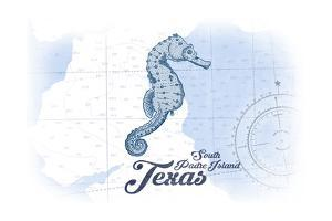 South Padre Island, Texas - Seahorse - Blue - Coastal Icon by Lantern Press