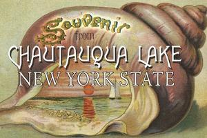 Souvenir from Chautauqua Lake, New York Shell and Sunset by Lantern Press