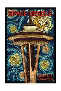 Space Needle Mosaic - Seattle, WA by Lantern Press