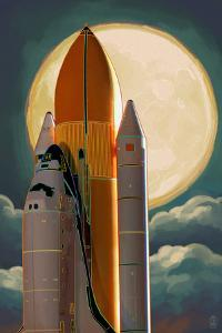 Space Shuttle and Moon by Lantern Press