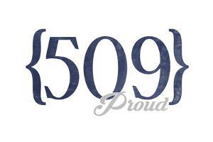 Spokane, Washington - 509 Area Code (Blue) by Lantern Press