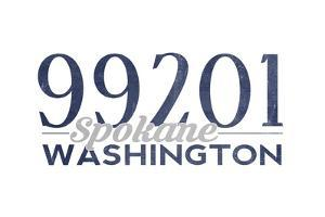 Spokane, Washington - 99201 Zip Code (Blue) by Lantern Press