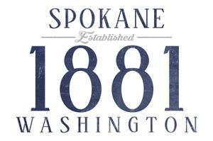 Spokane, Washington - Established Date (Blue) by Lantern Press
